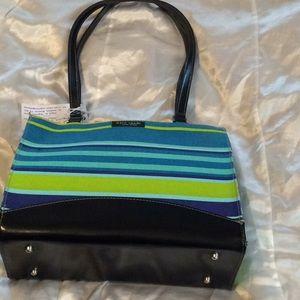 Kate Spade Teal & Black Multi Striped Shoulder Bag